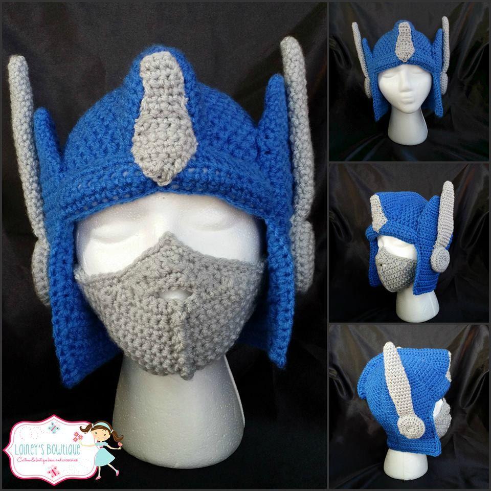 Optimus Prime Crochet Hat With Removable Adjustable Mask Crochet