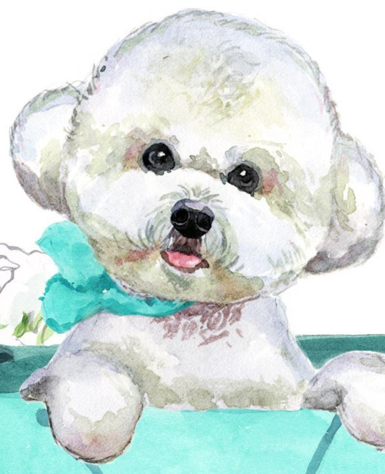 Bichon Frise Watercolour Dog Printed Linen Cushion Cover Home Decor Gift