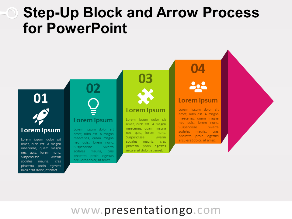 Step Up Block And Arrow Process For Powerpoint