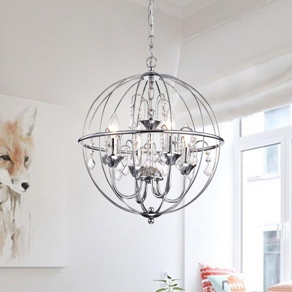 Benita chrome finish metal orb crystal chandelier decor benita chrome finish metal orb crystal chandelier aloadofball Gallery