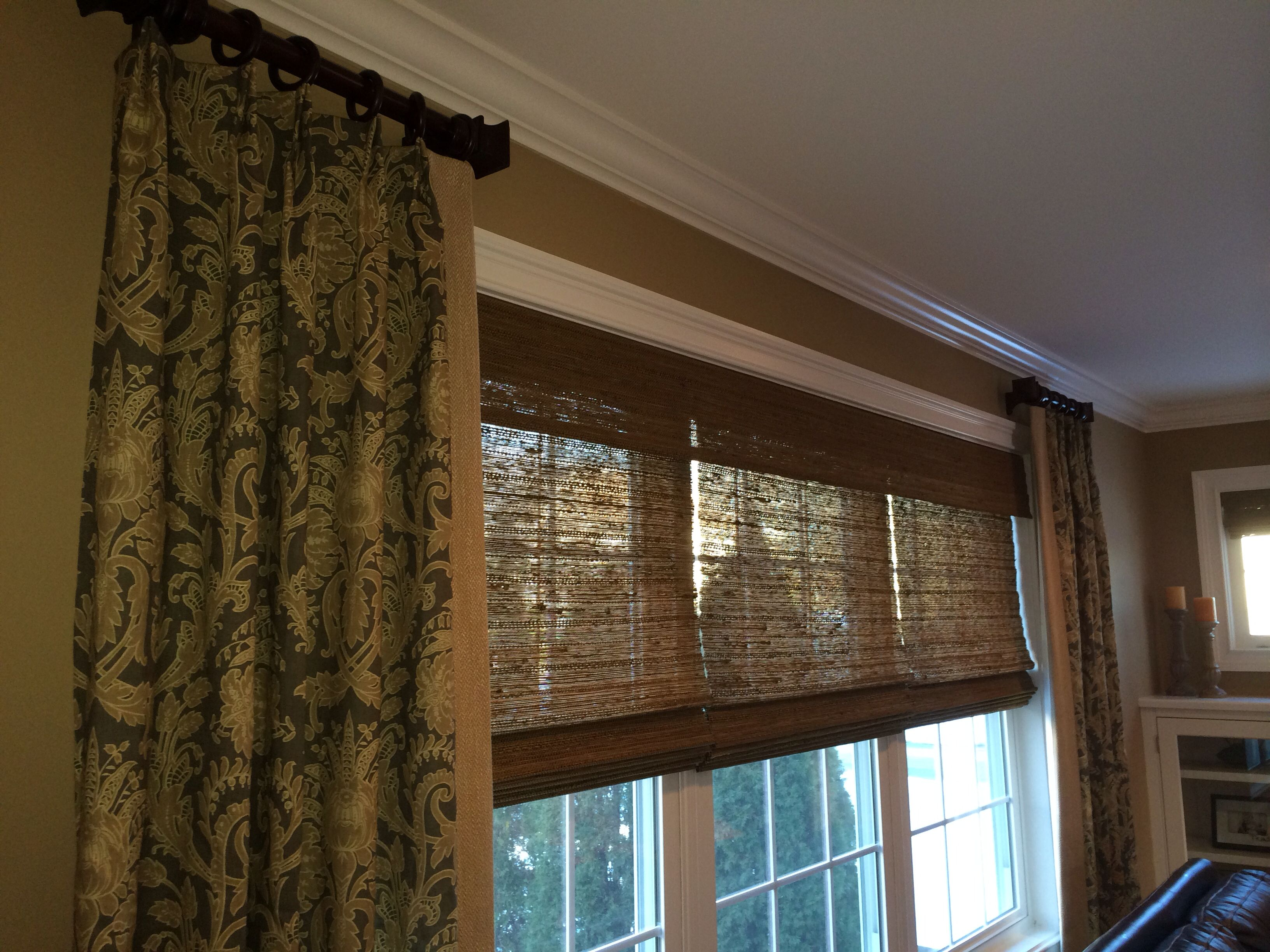 A Great Way To Hang Stationary Panels On A Triple Window Homedecinasec Com Windows Drapes Roman Shade Curtain