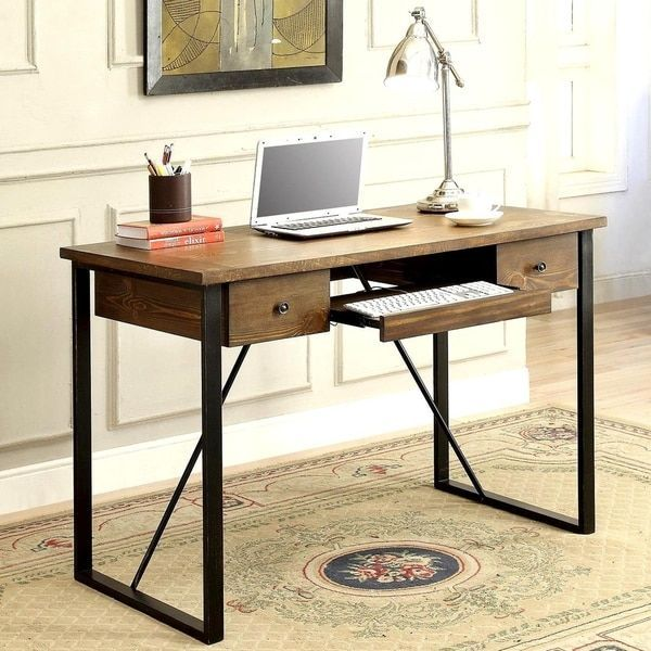Schevron Mid Century Industrial Rustic Design Home Office Computer Writing Desk With Keyboard Drawer Rustic Home Offices Rustic Design Home Office Furniture