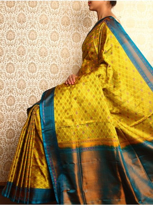 Lime and cobalt Jamawar Saree on katan silk from Holy Weaves, Varanasi