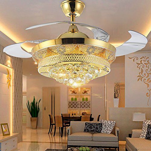 Colorled Modern Crystal Gold Ceiling Fan Light Kit For Living Room Bedroom Telescopic Fan Chandeliers Gold Ceiling Fan Ceiling Fan Chandelier Lighting Fixtures