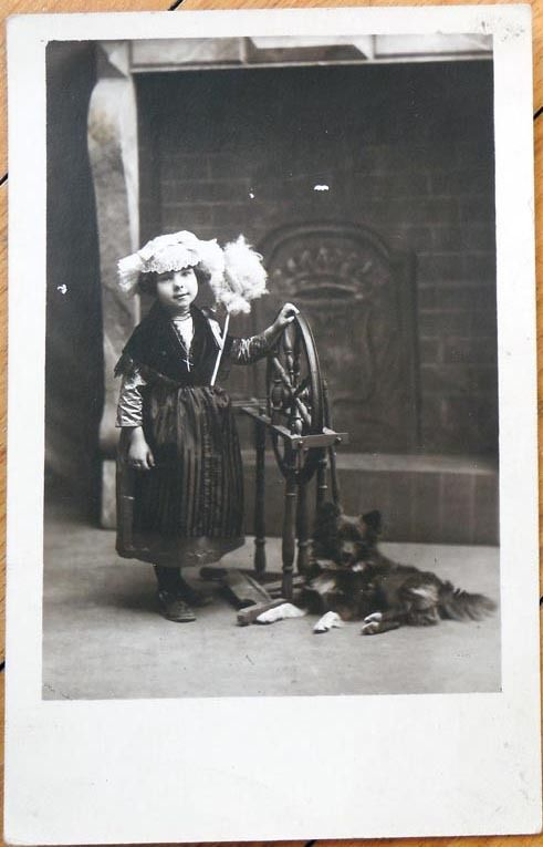 1927 Realphoto Postcard: Spinning Wheel, Girl & Her Dog