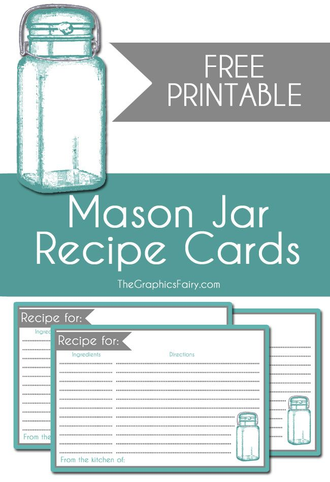 Mason Jar Recipe Card Printable