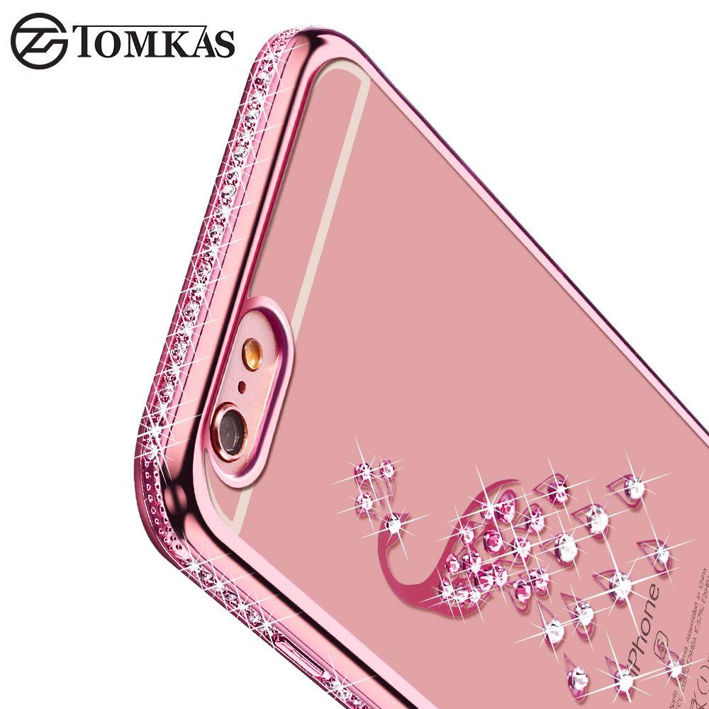 Tomkasシリコーンcase用iphone 6 6 s coque高級ソフトtpuブリンブリンバックカバーのためのiphone 6 plus/6 s plus電話ケース6スタイル