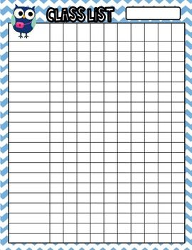 Owl Themed Class List For 20 Students Sample Free Class List Owl Theme Classroom Teacher Incentive