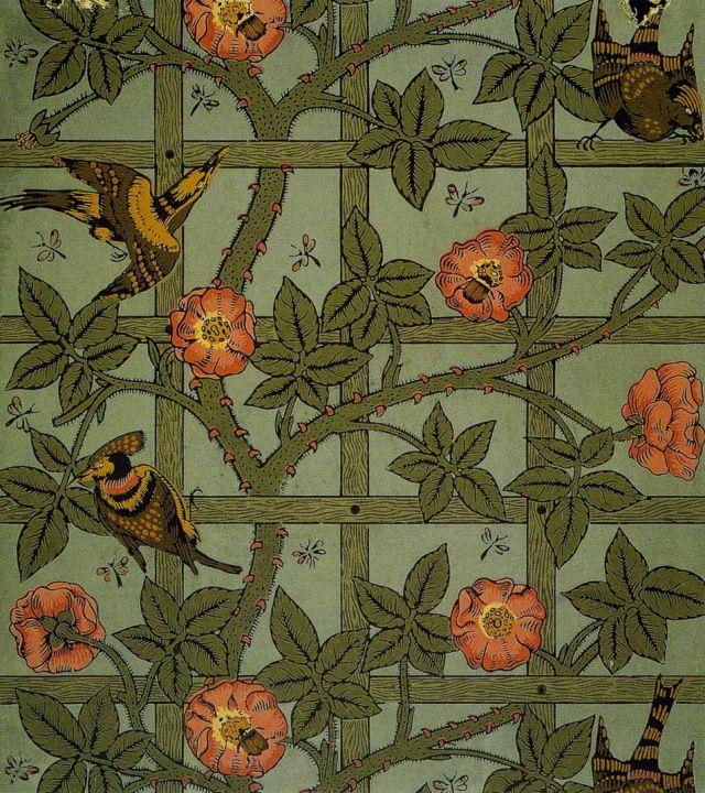 William Morris - PreRaphaelite - Designer - Wallpaper - 'Trellis', designed 1862, manufactured 1864.