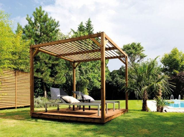 Pergola en bois bricorama jardin outdoor beautiful for Decoration jardin villa