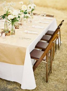 White Table Cloth With Brown Paper Runner Paper Table Runner