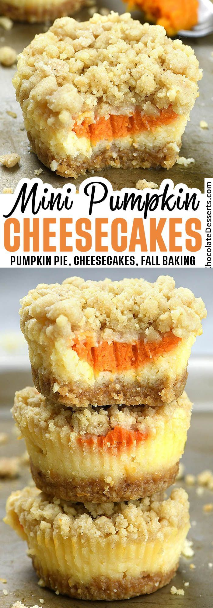Mini Pumpkin Cheesecakes with Streusel Topping -   18 thanksgiving desserts for a crowd ideas