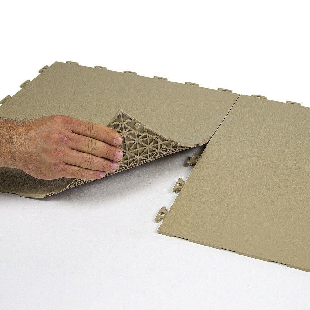 "LOFT Rubber Floor Tiles (Flexible PVC) 18"" x 18"" x 1/4"" - Beige - Flat w/ Texture (gym flooring)"
