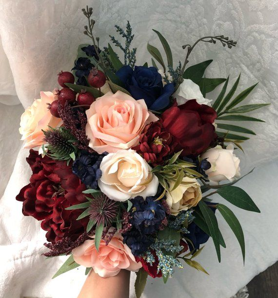 Wedding Bouquet Burgundy Navy Blue Red Peony Eucalyptus Wedding Maroon Package Handmade Artificial Faux Flowers Wedding Decor #makeflowers
