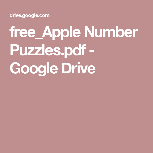 free_Apple Number Puzzles.pdf - Google Drive | Number ...