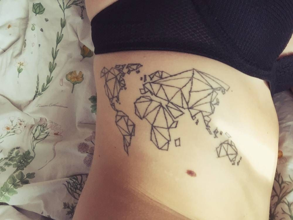 Side tattoo of a polygonal world map tattoo on little tattoos side tattoo of a polygonal world map tattoo on little tattoos for gumiabroncs Gallery