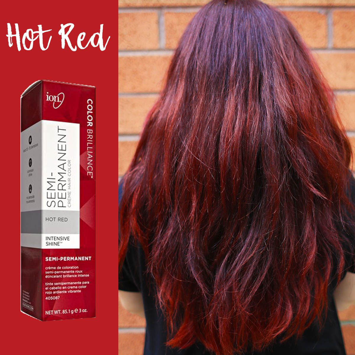 Look Red Hot In Hot Red Discover The Groundbreaking Ion Color Brilliance Semi Permanent C Semi Permanent Hair Color Chrome Hair Color Ion Hair Color Chart