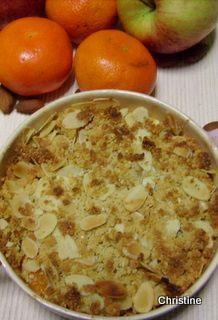 Crumble pomme-clémentines et amandes - le blog culinaire pause-nature
