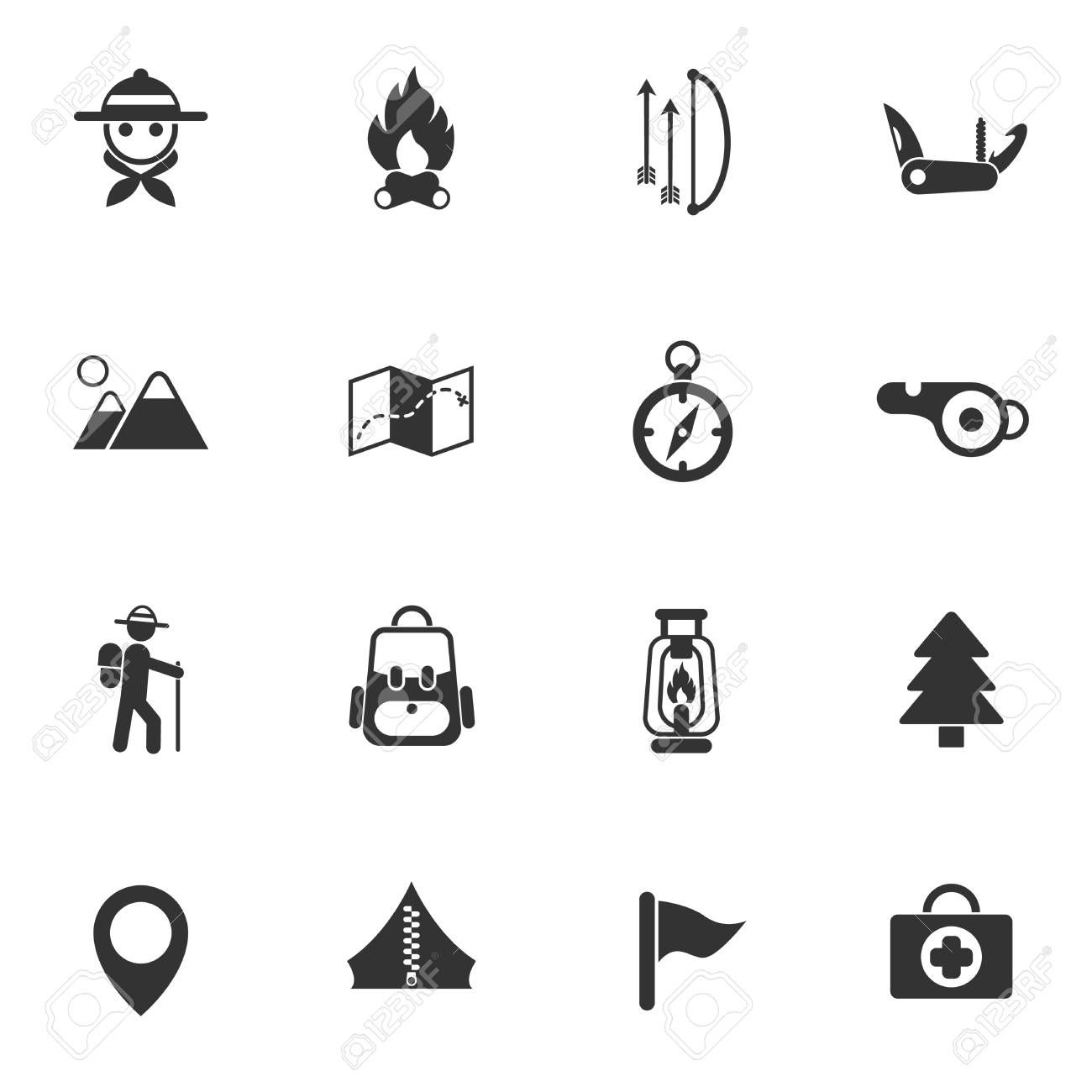 Day Of Scouts Icon Set Sponsored Scouts Day Set Icon Illustration Design Icon Set Scout