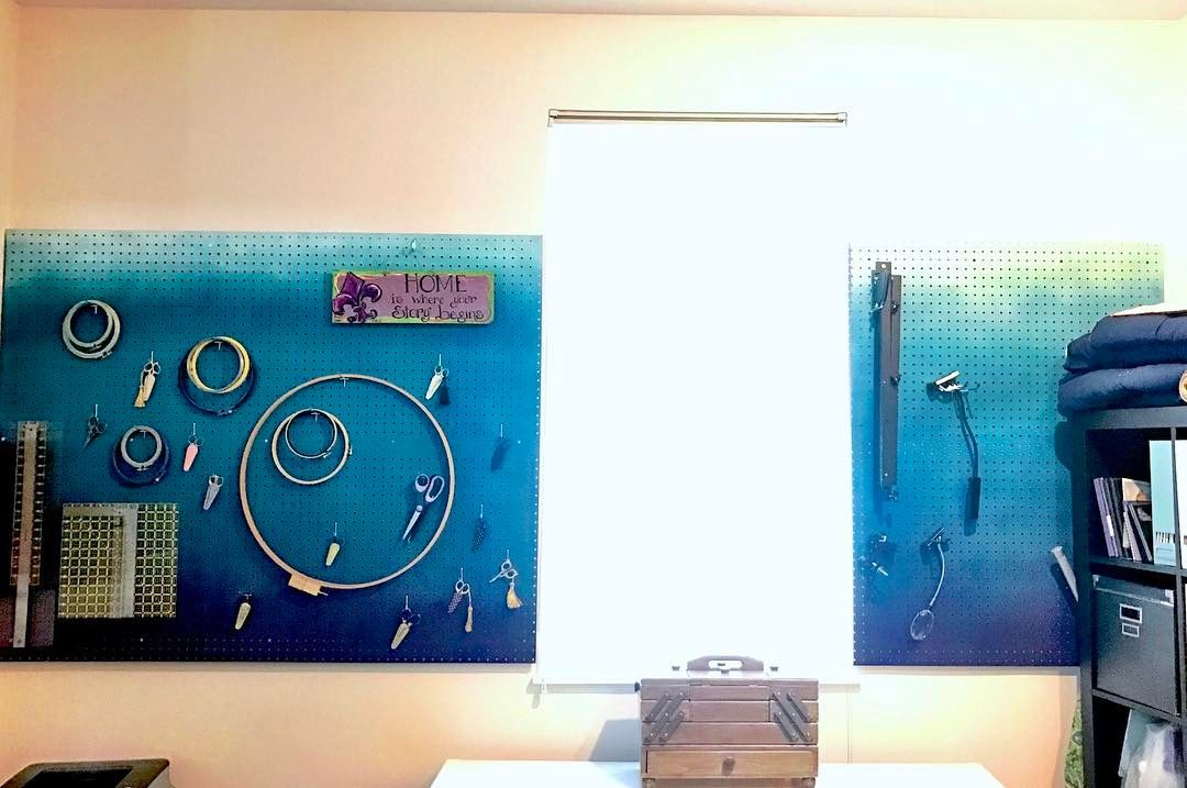 Completed pegboard! This is a 4x8\' sheet of pegboard cut to ...