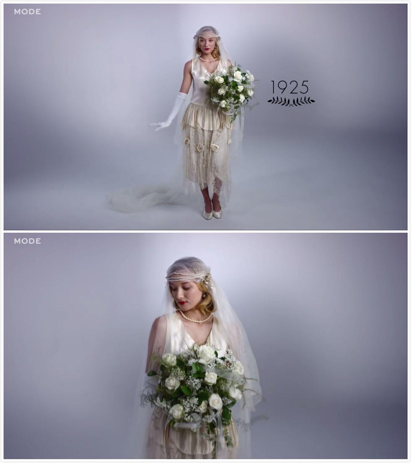 Eine dramatische Entwicklung der Brautkleider in 100 Jahren
