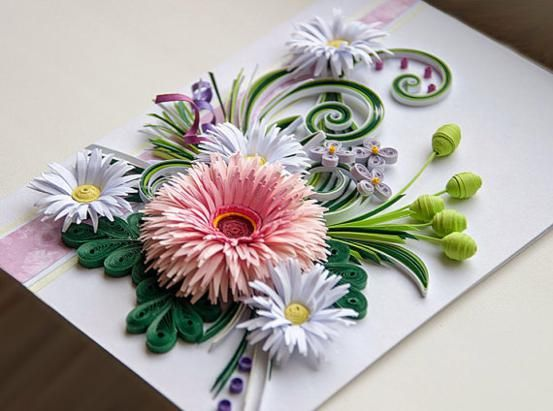 A Beautiful Handmade Quilled Card With Flowers Perfect Greeting