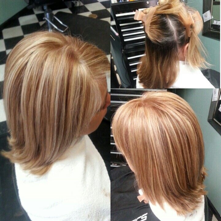 Root touch up highlights and brown copper lowlights! #cosmetology ...