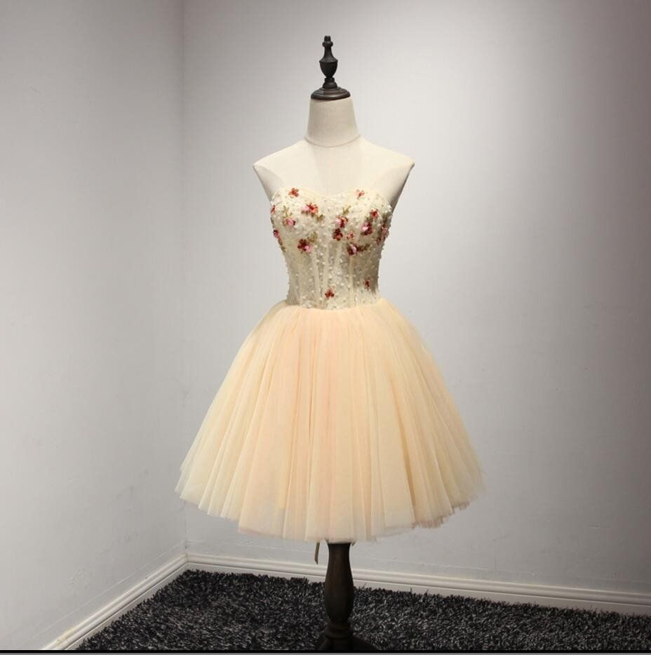 Strapless champagne beaded homecoming prom dresses affordable short
