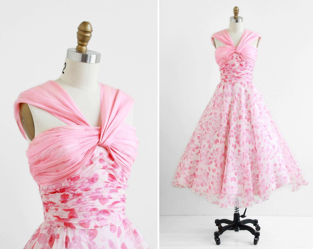 r e s e r v e d - vintage 1950s dress / 50s dress / Pink and White ...
