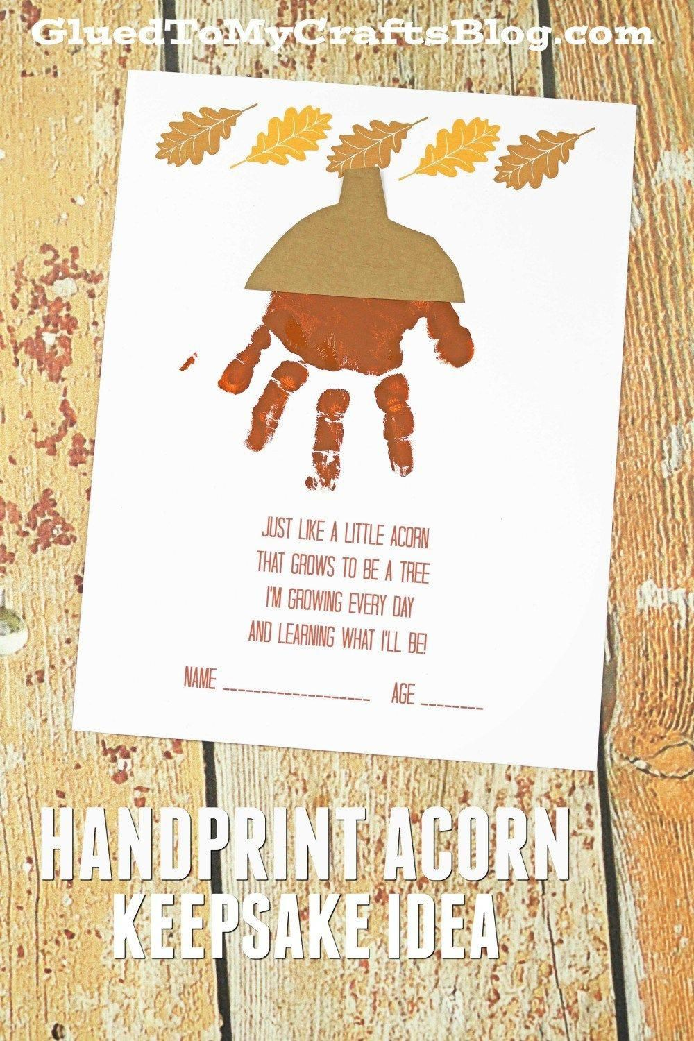 Handprint Acorn Poem - Fall Kid Craft Idea w/Freebie
