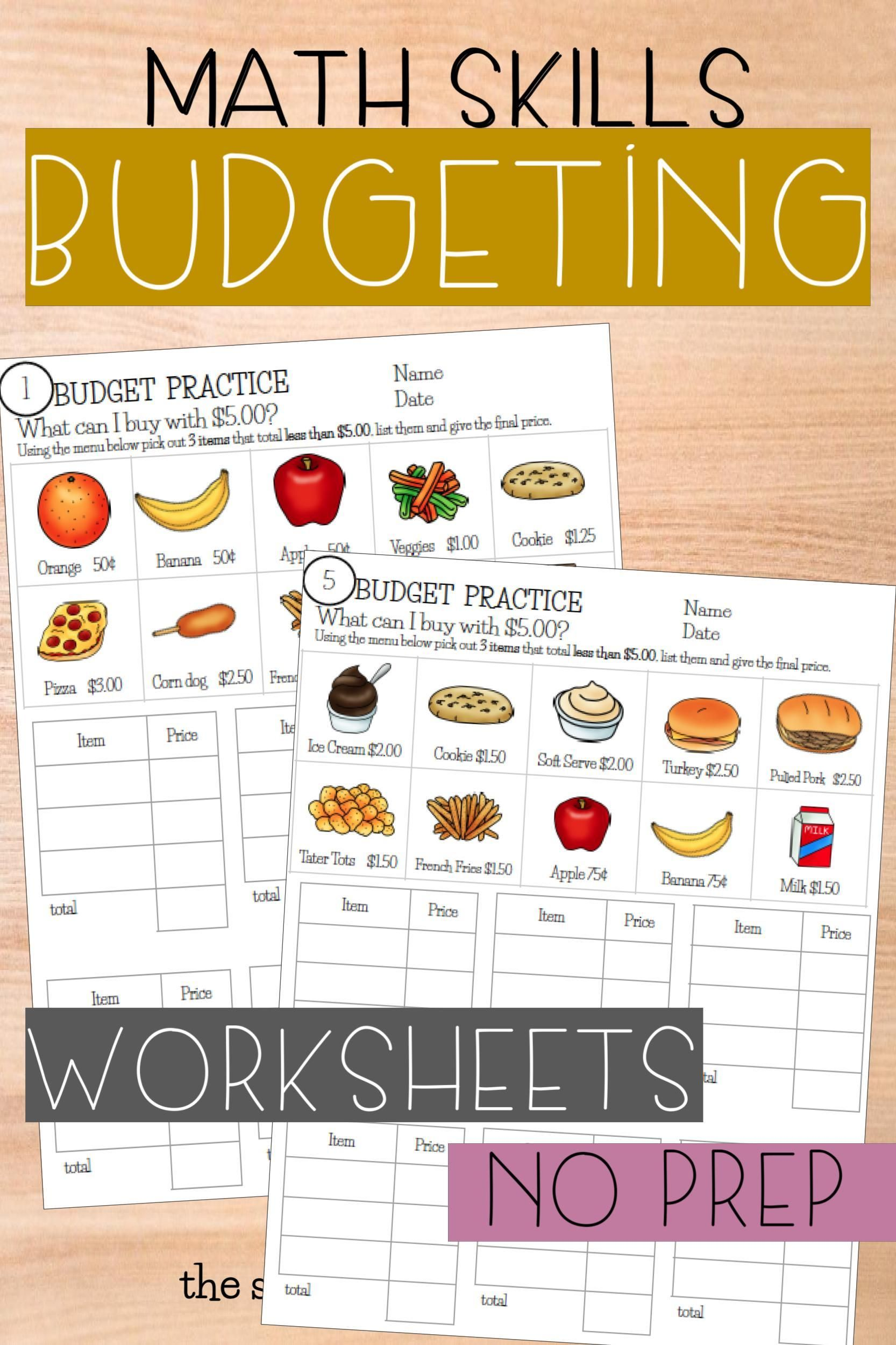 Budget Up To 5 Math Worksheets In
