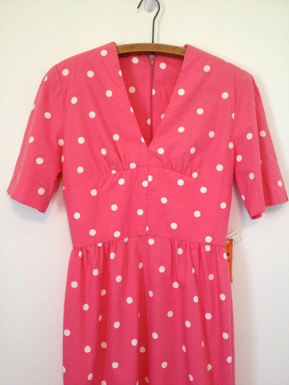 vintage pretty in pink polka dot dress s m by vintspiration, $36.00