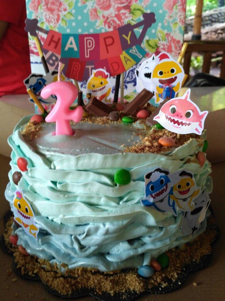 Baby Shark Birthday Party baby shark cake table ideas