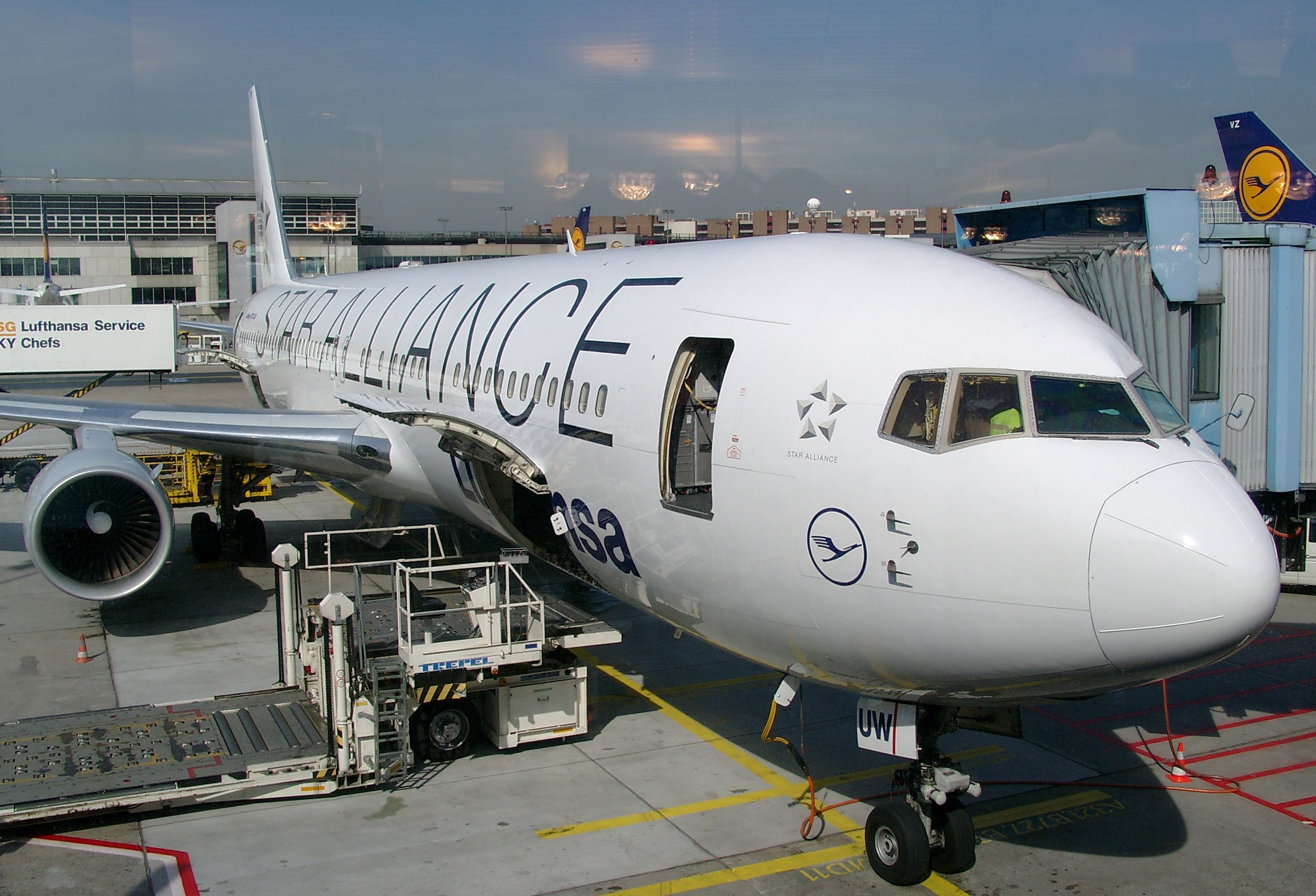 A Lufthansa Boeing 767 300 In Star Alliance Livery At A Gate At Frankfurt Airport In 2003