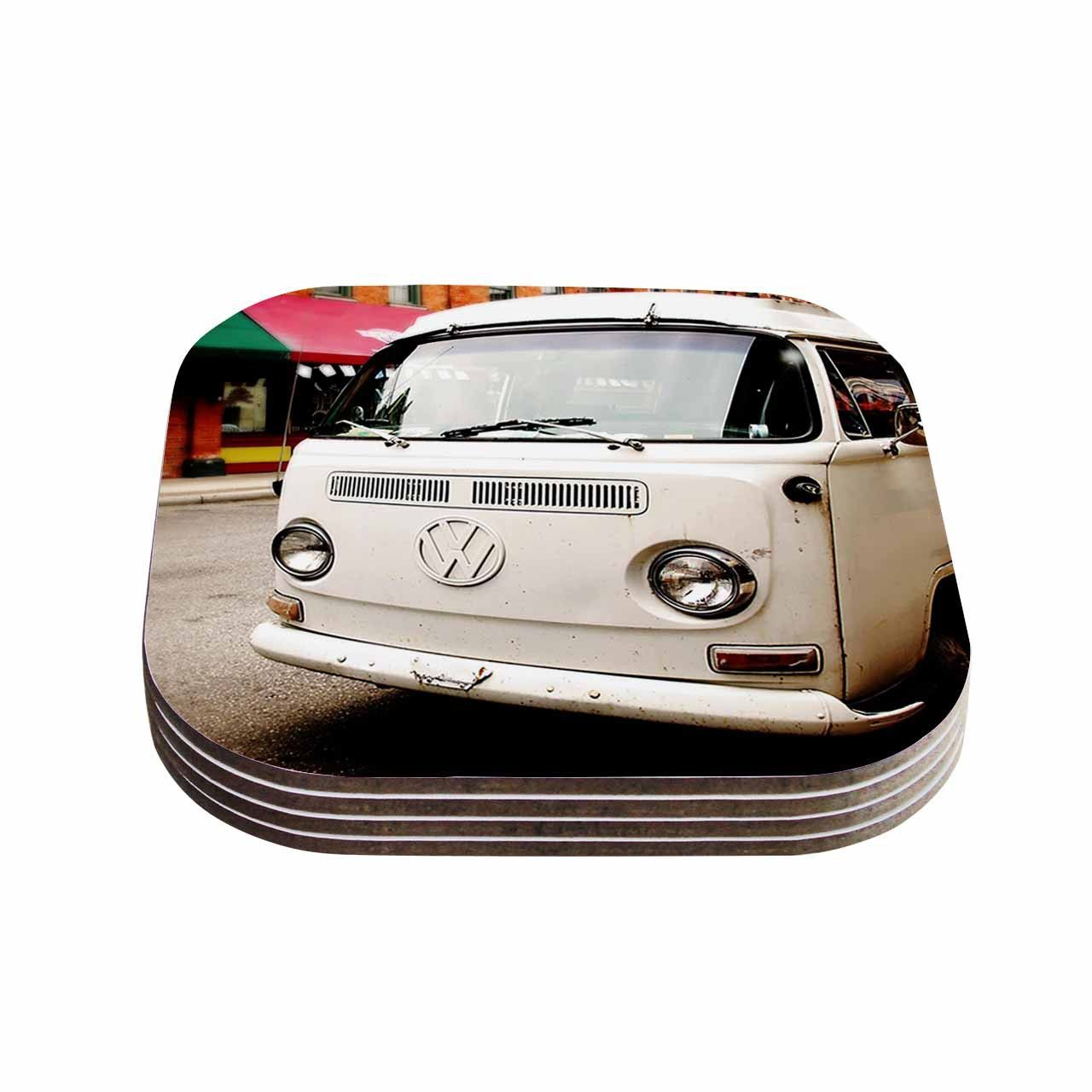 "Angie Turner ""VW Bus"" White Vintage Coasters (Set of 4)"
