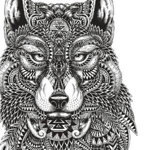 Adult Coloring Pages Mayan Wolf
