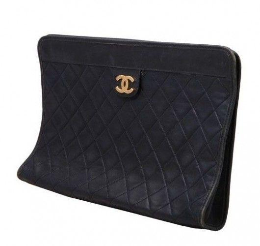 Vintage Black Quilted Clutch Bag