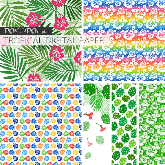 Hawaiian Style Tropical Digital Paper Download Tropical green and - notebook paper download