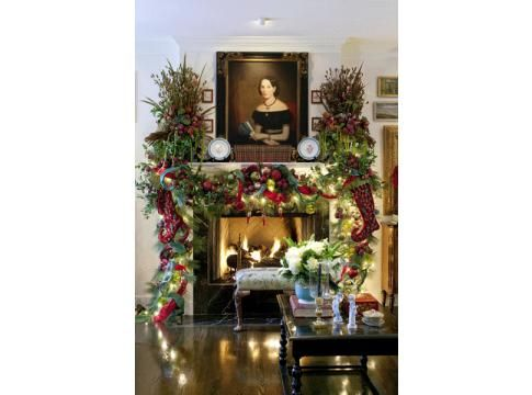 Holiday Homecoming - Fireplace _  christmas mantle _ stockings