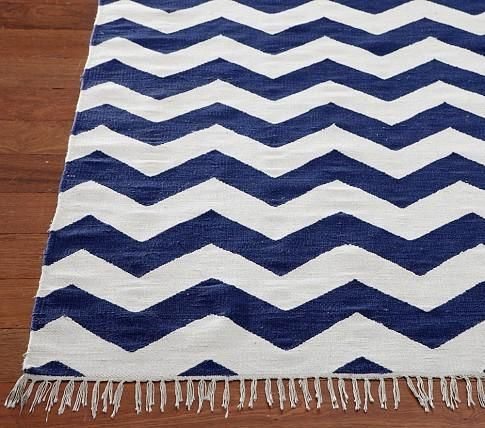Navy Blue And White Chevron Rug