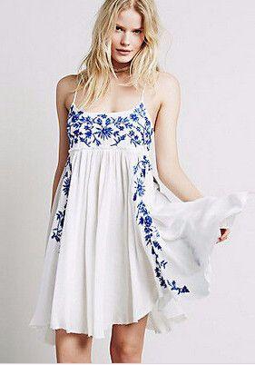 47ed8c8aadc Boho Spaghetti Strap Embroidery White Dress in 2019 | Clothes ...