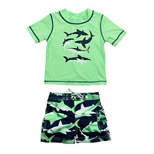 a7eb2fa554 Carters Baby Boys Infant Shark Rash Guard Swim Set Green 18M ** Be sure to  check out this awesome product. (This is an affiliate link)