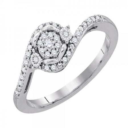 ctw 10K Round Cut White Diamond Mens Cluster Ring Wedding Band Yellow Gold Dazzlingrock Collection 0.12 Carat