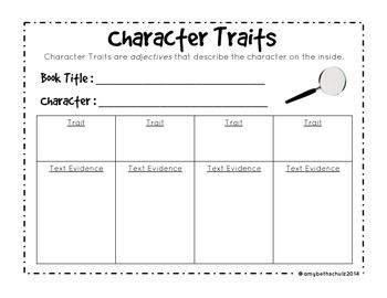 Character Traits FREEBIE   3rd Grade Reading   Character ...