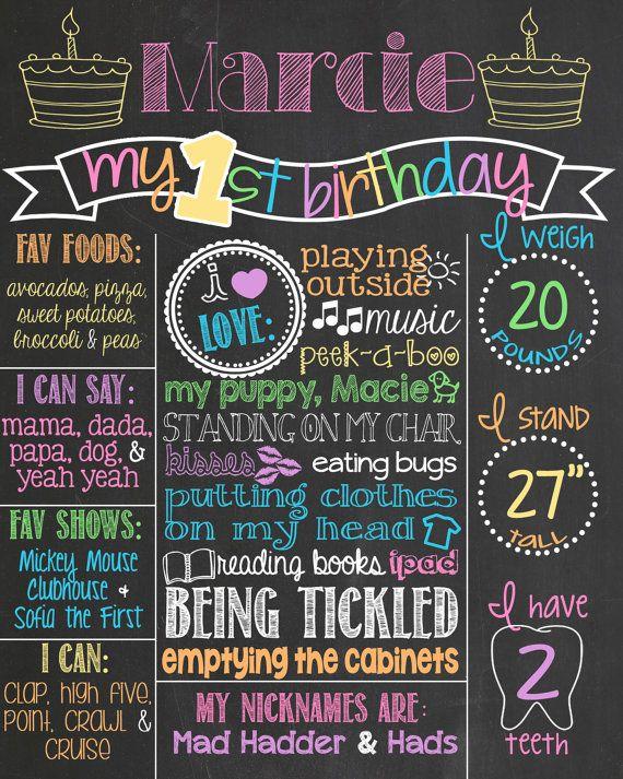 rainbow first birthday chalkboard poster by