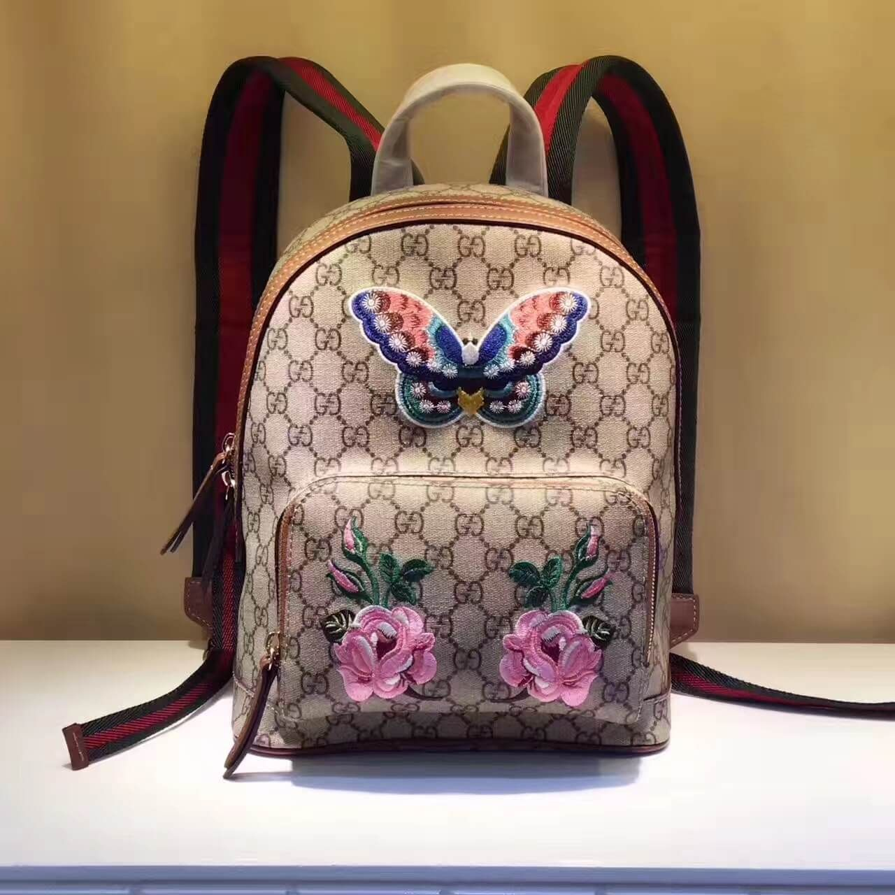8a187723628d Gucci Exclusive GG Supreme Backpack With Flwers Butterfly Embroidery 427042  2017