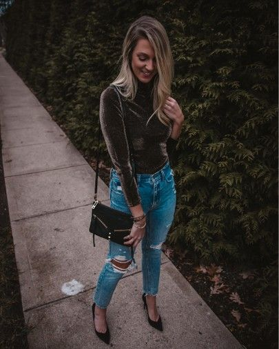 Fall  Winter Style sunseekinginstyle sunseekinginstyle   Chic style Shimmery mock neck top  high waisted ripped mom jeans with black pumps