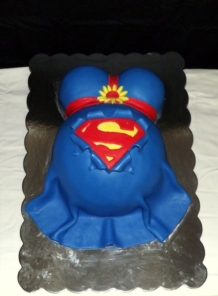 Great Superman Baby Shower Cake