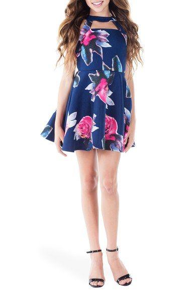 Miss Behave 'Harley' Floral Print Skater Dress (Big Girls) available at #Nordstrom