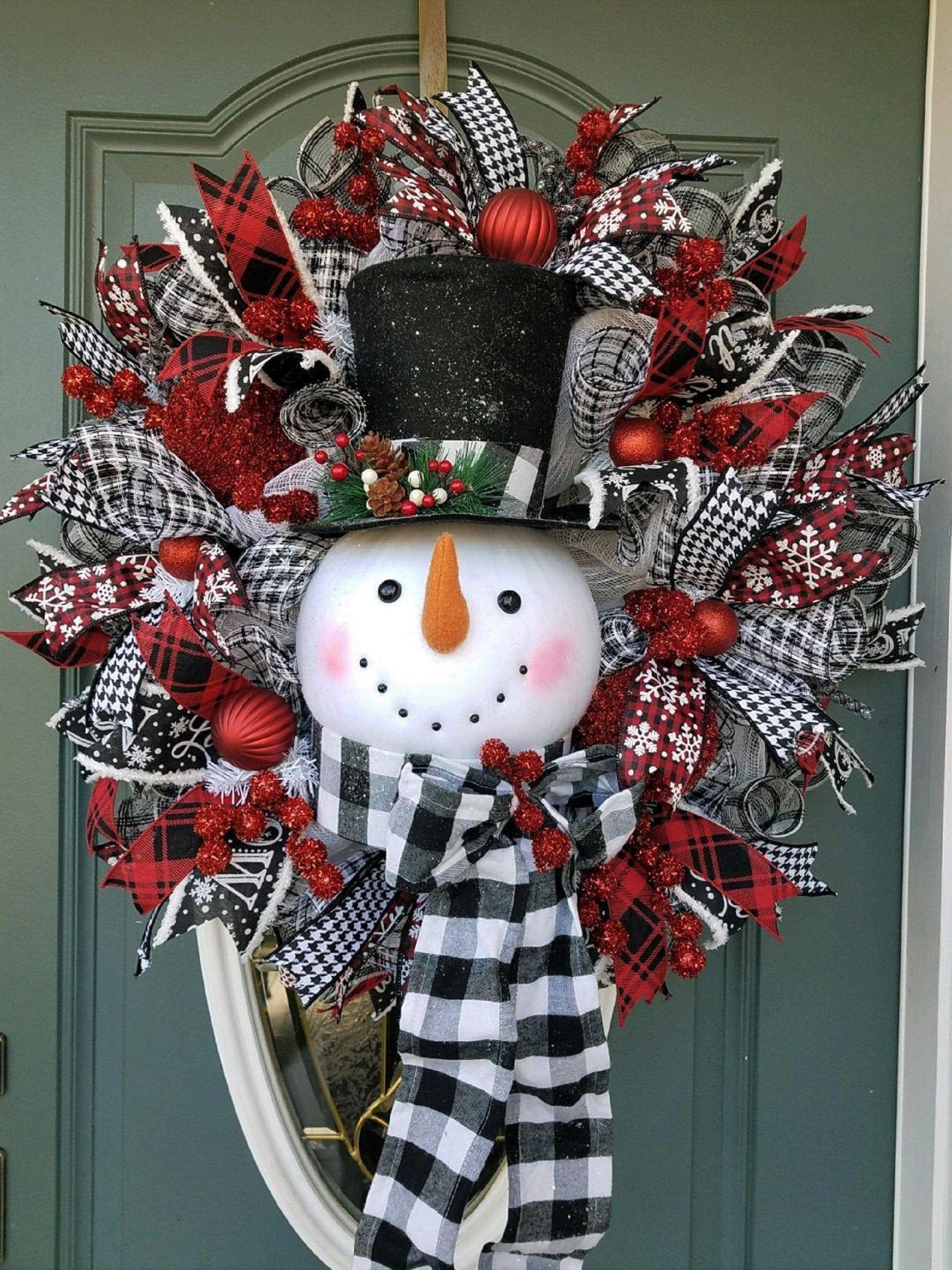 Christmas Wreath Snowman Wreath For Front Door Traditional Christmas Wreath Buffalo Plaid White Christmas Wreath Large Christmas Wreath Christmas Wreaths